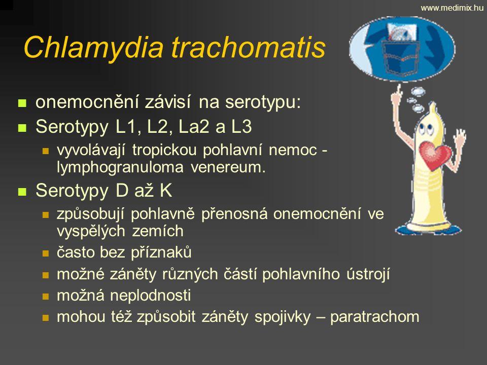 Chlamydia trachomatis onemocnění závisí na serotypu: Serotypy L1, L2, La2 a L3 vyvolávají tropickou pohlavní nemoc - lymphogranuloma venereum. Serotyp