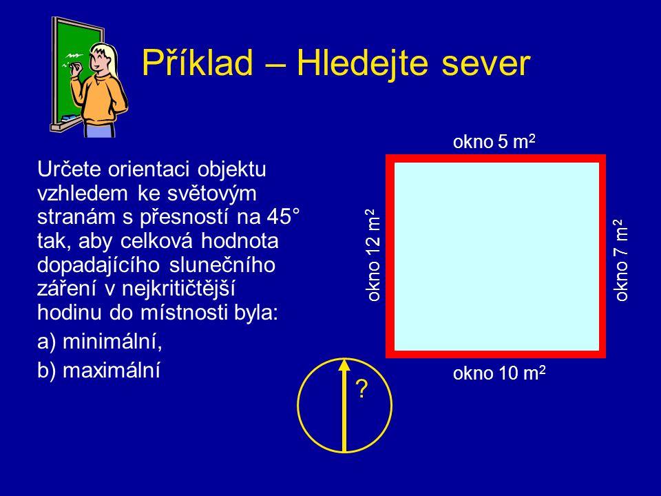 Příklad – Hledejte sever Určete orientaci objektu vzhledem ke světovým stranám s přesností na 45° tak, aby celková hodnota dopadajícího slunečního zář