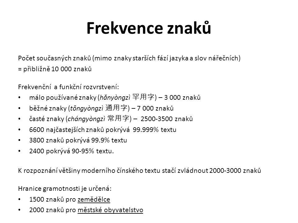 Frekvence znaků Počet současných znaků (mimo znaky starších fází jazyka a slov nářečních) = přibližně 10 000 znaků Frekvenční a funkční rozvrstvení: málo používané znaky (h ă nyòngzì 罕用字 ) – 3 000 znaků běžné znaky (tōngyòngzì 通用字 ) – 7 000 znaků časté znaky (chángyòngzì 常用字 ) – 2500-3500 znaků 6600 najčastejších znaků pokrývá 99.999% textu 3800 znaků pokrývá 99.9% textu 2400 pokrývá 90-95% textu.