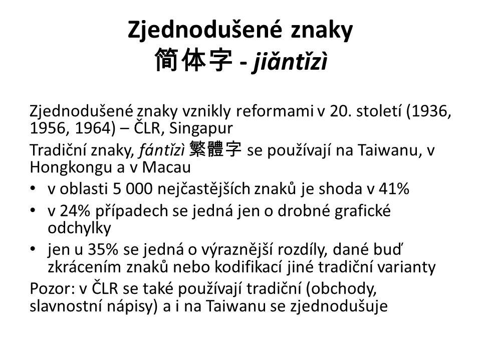 Zjednodušené znaky 简体字 - jiǎntǐzì Zjednodušené znaky vznikly reformami v 20. století (1936, 1956, 1964) – ČLR, Singapur Tradiční znaky, fántǐzì 繁體字 se