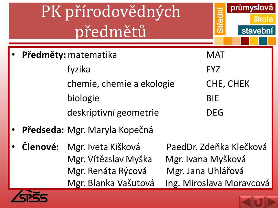 PK přírodovědných předmětů Předměty: matematikaMAT fyzikaFYZ chemie, chemie a ekologieCHE, CHEK biologieBIE deskriptivní geometrieDEG Předseda:Mgr. Ma