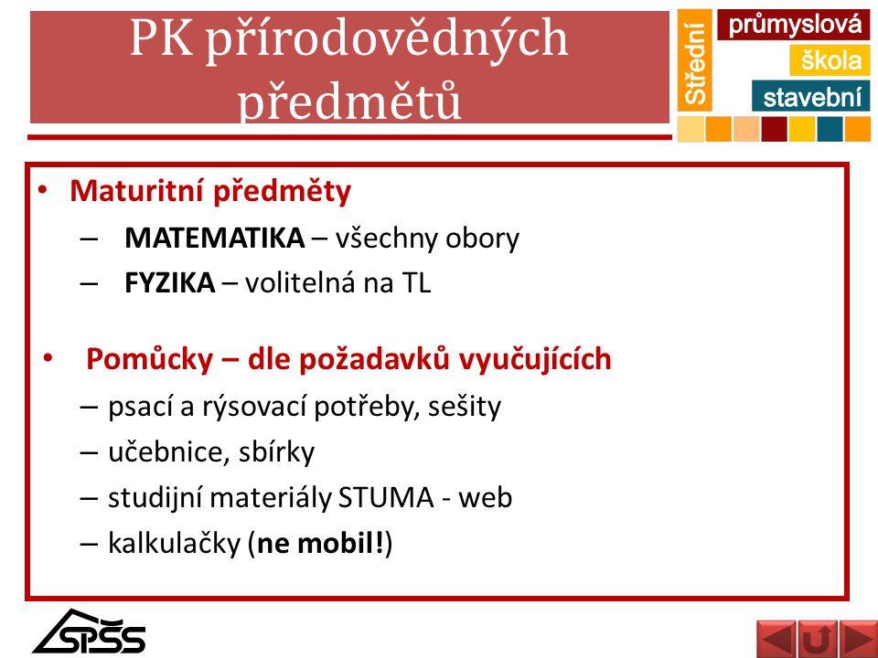 PK přírodovědných předmětů Maturitní předměty – MATEMATIKA – všechny obory – FYZIKA – volitelná na TL Pomůcky – dle požadavků vyučujících – psací a rý