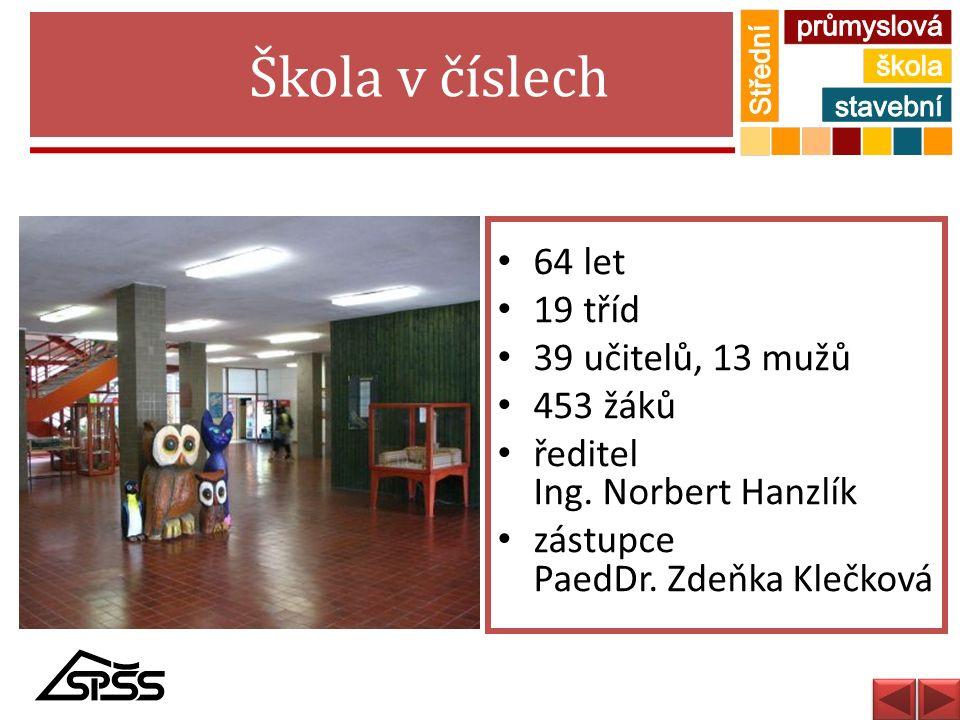 Škola v číslech 64 let 19 tříd 39 učitelů, 13 mužů 453 žáků ředitel Ing. Norbert Hanzlík zástupce PaedDr. Zdeňka Klečková