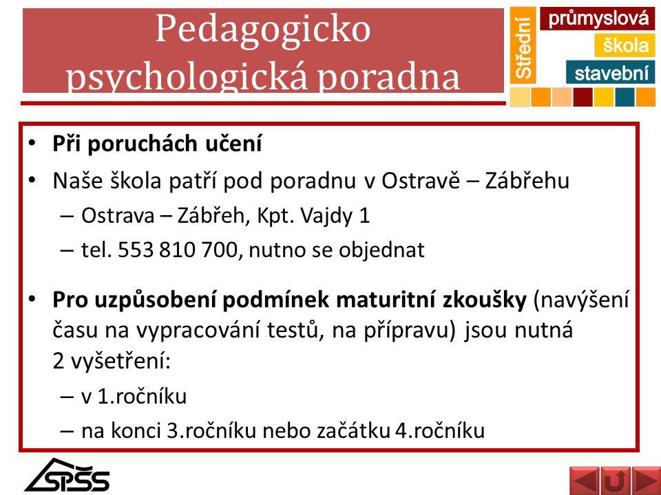 Pedagogicko psychologická poradna Při poruchách učení Naše škola patří pod poradnu v Ostravě – Zábřehu – Ostrava – Zábřeh, Kpt. Vajdy 1 – tel. 553 810