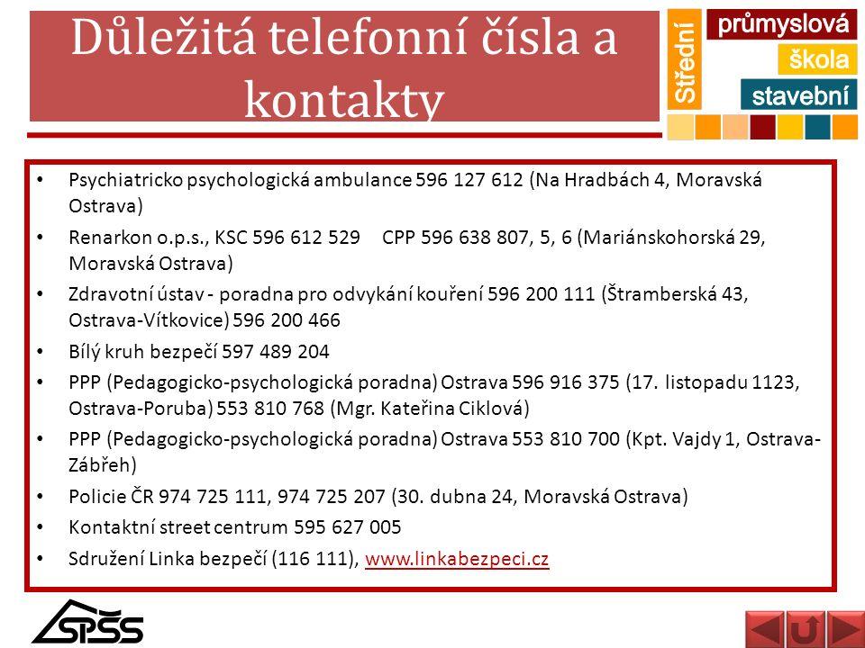 Důležitá telefonní čísla a kontakty Psychiatricko psychologická ambulance 596 127 612 (Na Hradbách 4, Moravská Ostrava) Renarkon o.p.s., KSC 596 612 5