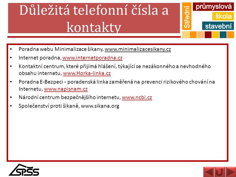 Důležitá telefonní čísla a kontakty Poradna webu Minimalizace šikany, www.minimalizacesikany.cz Internet poradna, www.internetporadna.czwww.internetpo