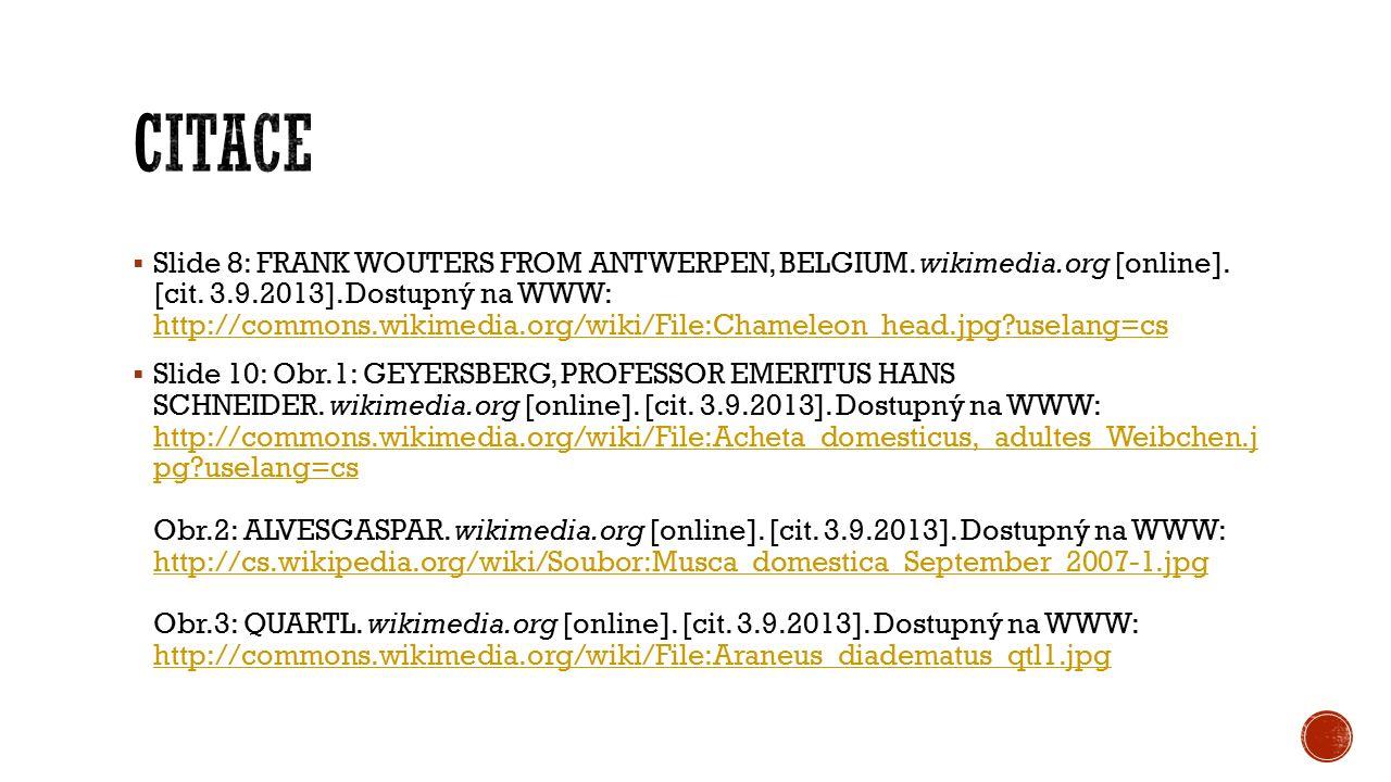  Slide 8: FRANK WOUTERS FROM ANTWERPEN, BELGIUM. wikimedia.org [online]. [cit. 3.9.2013]. Dostupný na WWW: http://commons.wikimedia.org/wiki/File:Cha