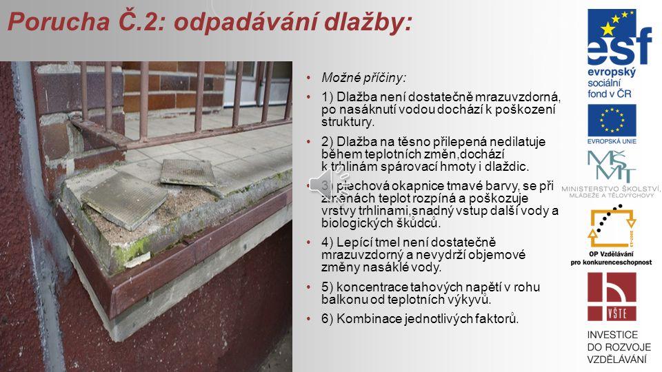 Porucha Č.2: odpadávání dlažby: Možné příčiny: 1) Dlažba není dostatečně mrazuvzdorná, po nasáknutí vodou dochází k poškození struktury.
