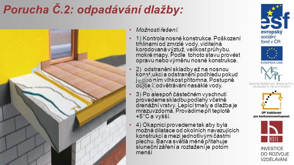 Porucha Č.2: odpadávání dlažby: Možnosti řešení: 1) Kontrola nosné konstrukce.