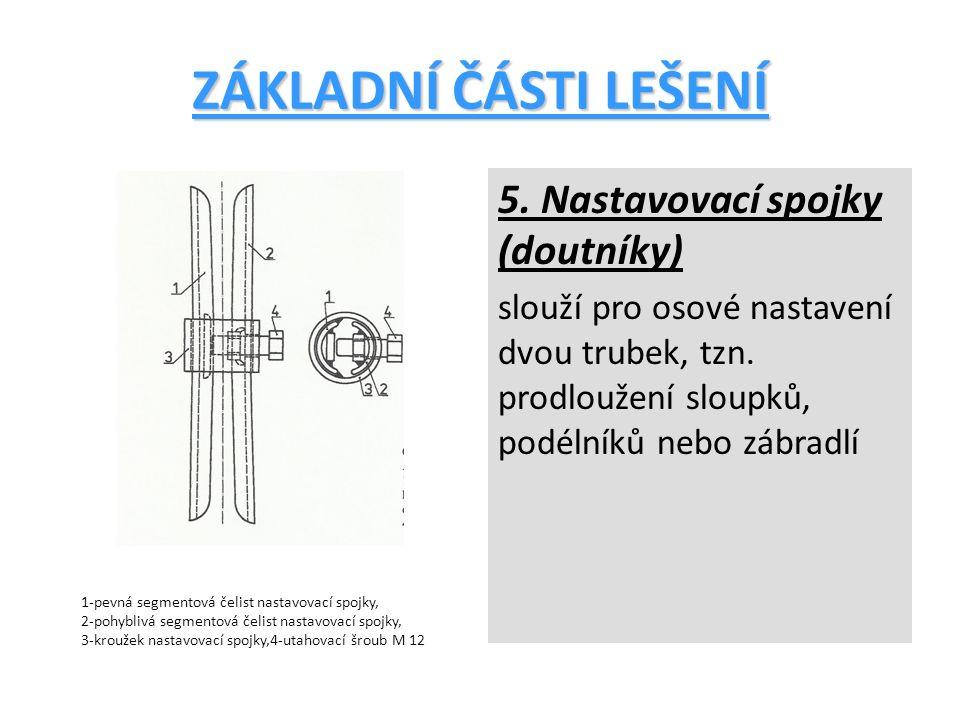 ZÁKLADNÍ ČÁSTI LEŠENÍ 5.Nastavovací spojky (doutníky) slouží pro osové nastavení dvou trubek, tzn.