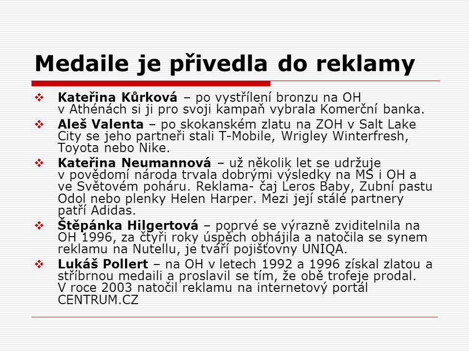 Medaile je přivedla do reklamy  Kateřina Kůrková – po vystřílení bronzu na OH v Athénách si ji pro svoji kampaň vybrala Komerční banka.  Aleš Valent