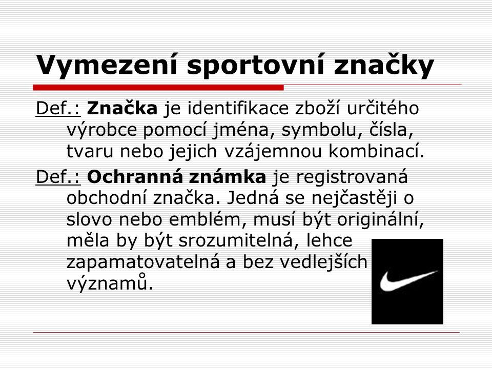 Vymezení sportovní značky Def.: Značka je identifikace zboží určitého výrobce pomocí jména, symbolu, čísla, tvaru nebo jejich vzájemnou kombinací. Def