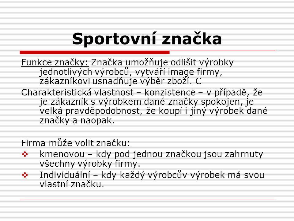 Sportovní značka Funkce značky: Značka umožňuje odlišit výrobky jednotlivých výrobců, vytváří image firmy, zákazníkovi usnadňuje výběr zboží. C Charak