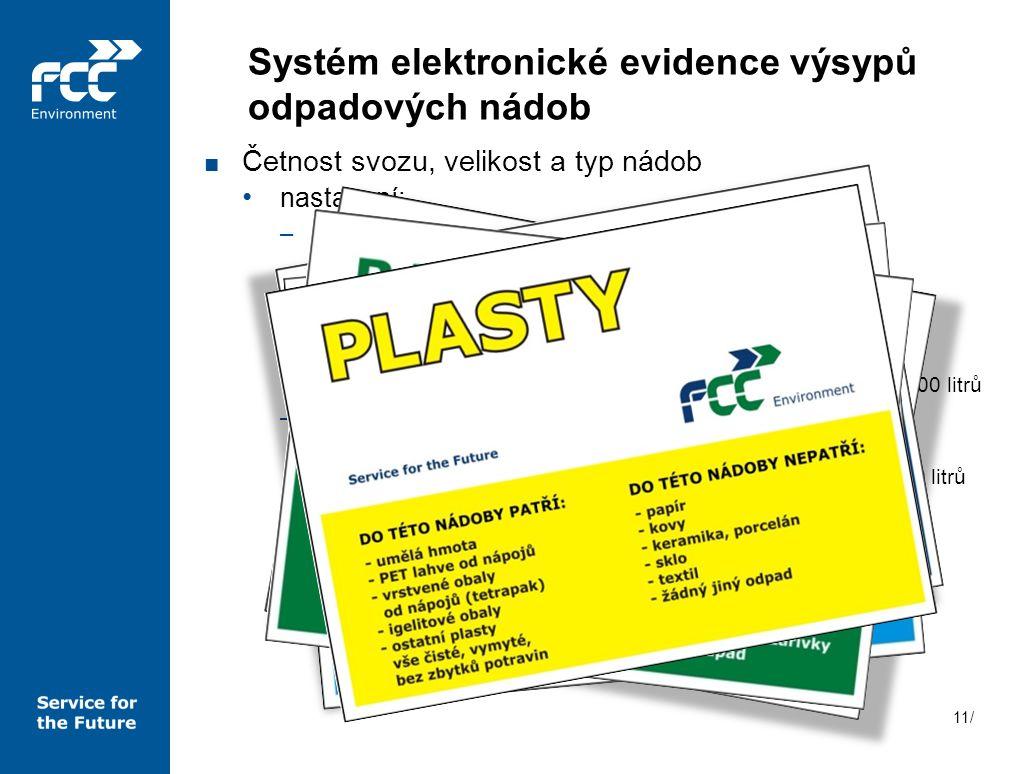 11/ Systém elektronické evidence výsypů odpadových nádob ■ Četnost svozu, velikost a typ nádob nastavení: –směsný komunální odpad o 1 x 3 týdny o čern