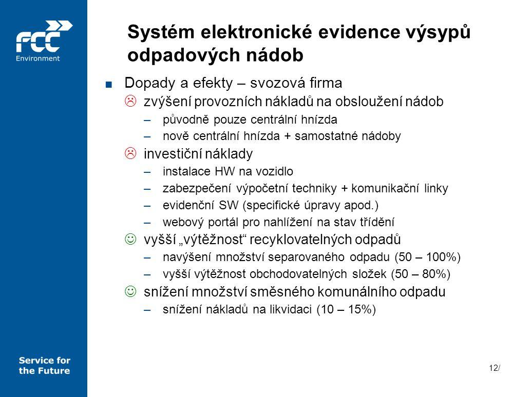 12/ Systém elektronické evidence výsypů odpadových nádob ■ Dopady a efekty – svozová firma  zvýšení provozních nákladů na obsloužení nádob –původně p