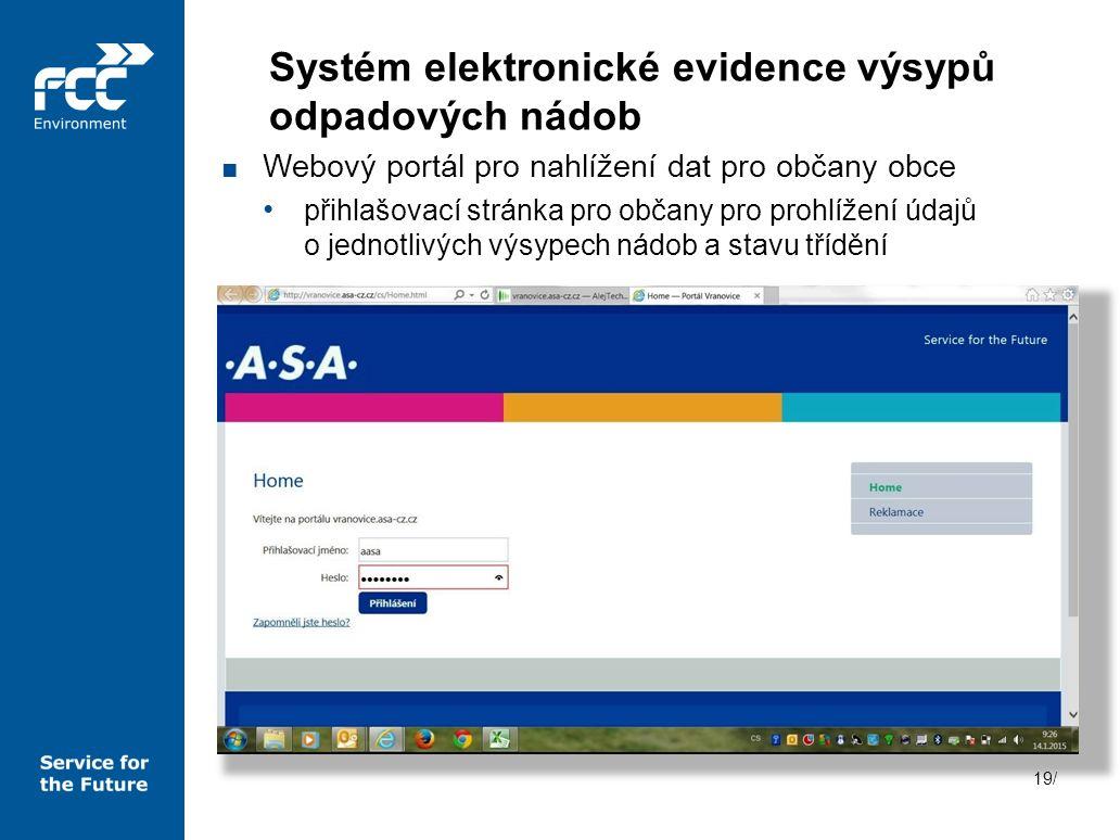 19/ ■ Webový portál pro nahlížení dat pro občany obce přihlašovací stránka pro občany pro prohlížení údajů o jednotlivých výsypech nádob a stavu třídě