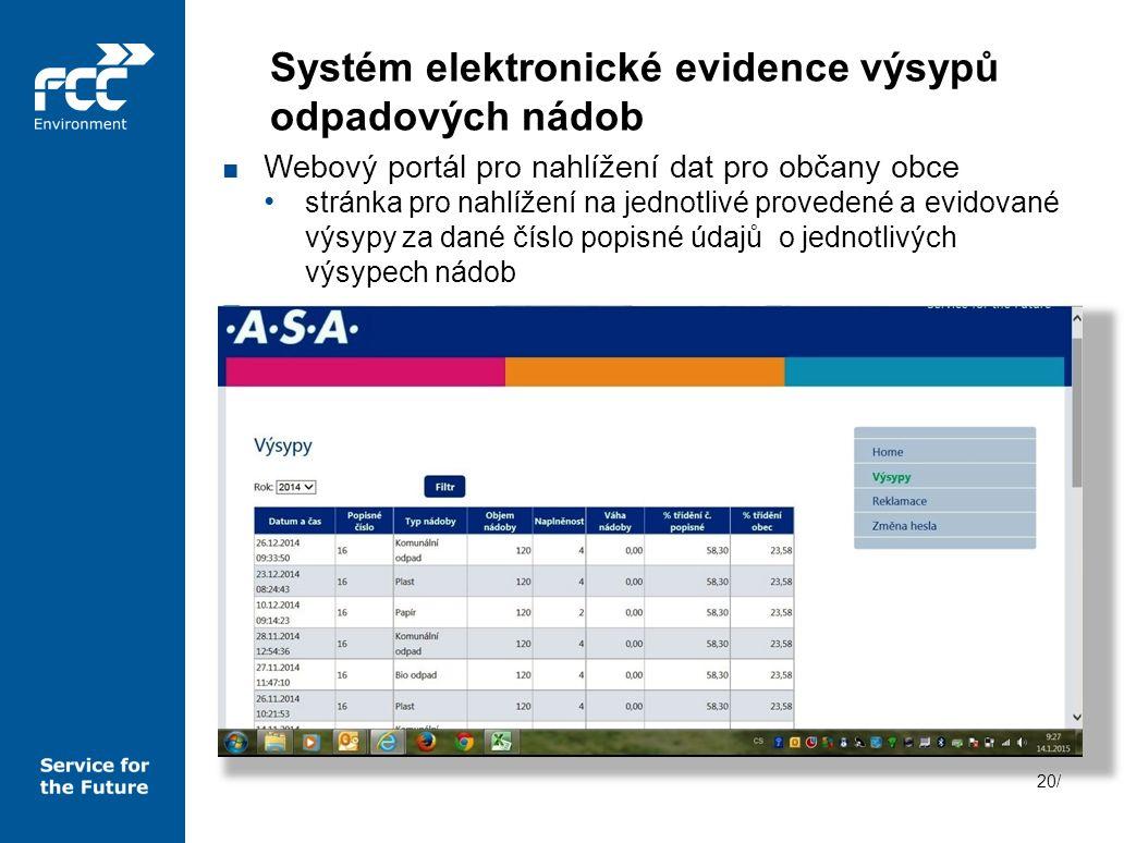 20/ ■ Webový portál pro nahlížení dat pro občany obce stránka pro nahlížení na jednotlivé provedené a evidované výsypy za dané číslo popisné údajů o j