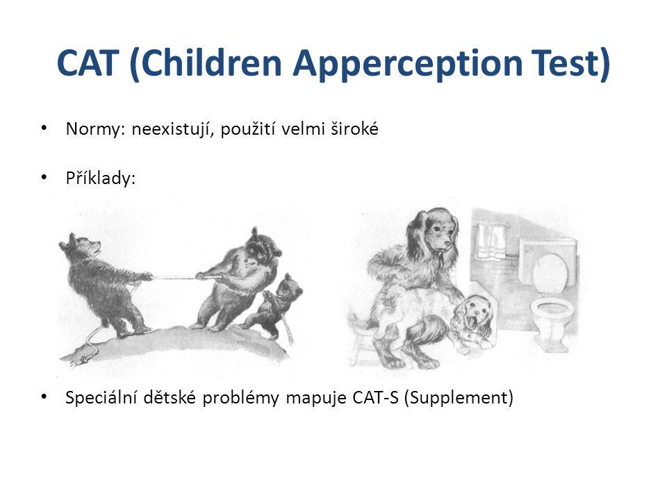 CAT (Children Apperception Test) Normy: neexistují, použití velmi široké Příklady: Speciální dětské problémy mapuje CAT-S (Supplement)