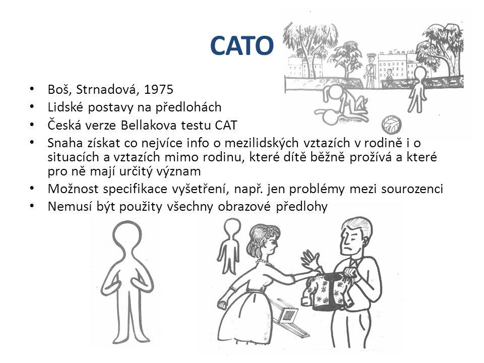CATO Boš, Strnadová, 1975 Lidské postavy na předlohách Česká verze Bellakova testu CAT Snaha získat co nejvíce info o mezilidských vztazích v rodině i o situacích a vztazích mimo rodinu, které dítě běžně prožívá a které pro ně mají určitý význam Možnost specifikace vyšetření, např.