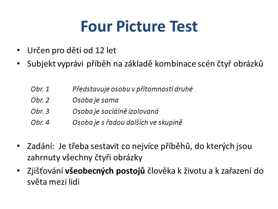 Four Picture Test Určen pro děti od 12 let Subjekt vypráví příběh na základě kombinace scén čtyř obrázků Obr. 1Představuje osobu v přítomnosti druhé O
