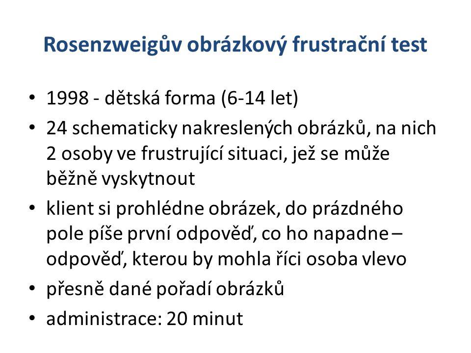 Rosenzweigův obrázkový frustrační test 1998 - dětská forma (6-14 let) 24 schematicky nakreslených obrázků, na nich 2 osoby ve frustrující situaci, jež se může běžně vyskytnout klient si prohlédne obrázek, do prázdného pole píše první odpověď, co ho napadne – odpověď, kterou by mohla říci osoba vlevo přesně dané pořadí obrázků administrace: 20 minut