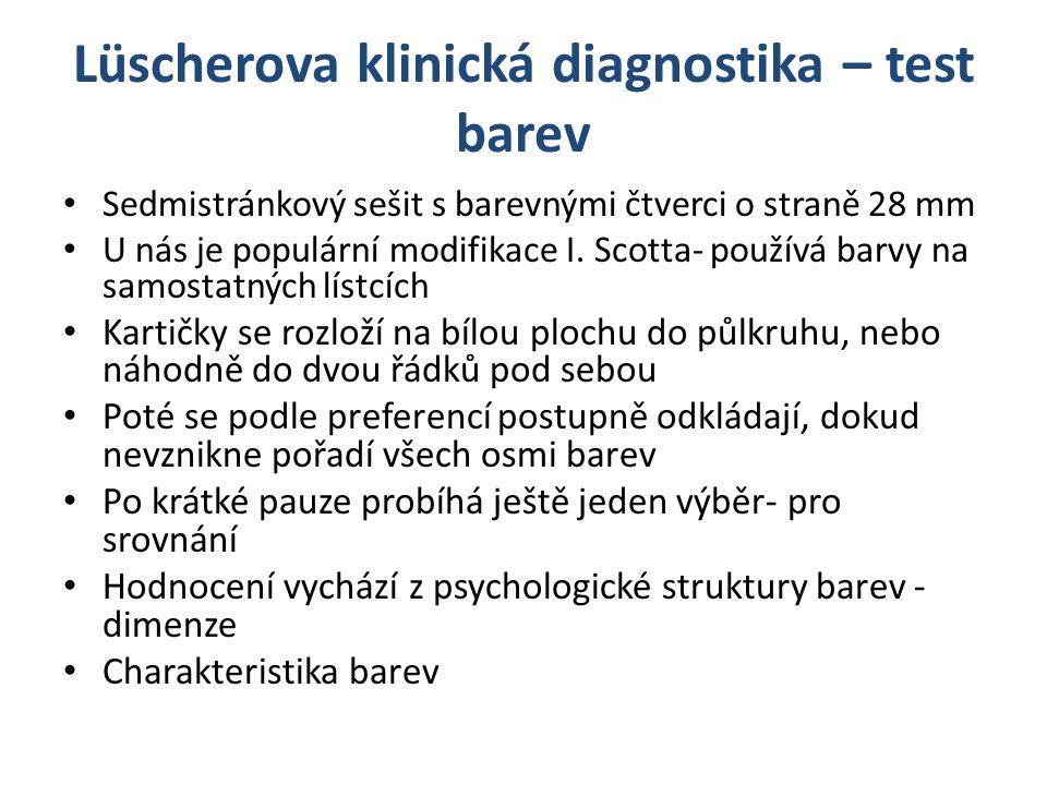 Lüscherova klinická diagnostika – test barev Sedmistránkový sešit s barevnými čtverci o straně 28 mm U nás je populární modifikace I. Scotta- používá