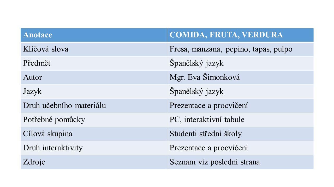 AnotaceCOMIDA, FRUTA, VERDURA Klíčová slovaFresa, manzana, pepino, tapas, pulpo PředmětŠpanělský jazyk AutorMgr.