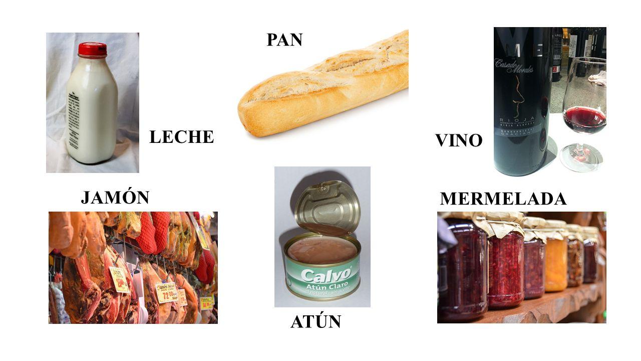 LECHE VINO JAMÓN ATÚN MERMELADA PAN