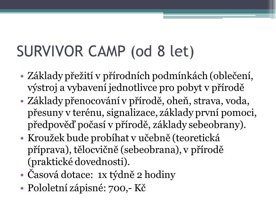 SURVIVOR CAMP (od 8 let) Základy přežití v přírodních podmínkách (oblečení, výstroj a vybavení jednotlivce pro pobyt v přírodě Základy přenocování v p