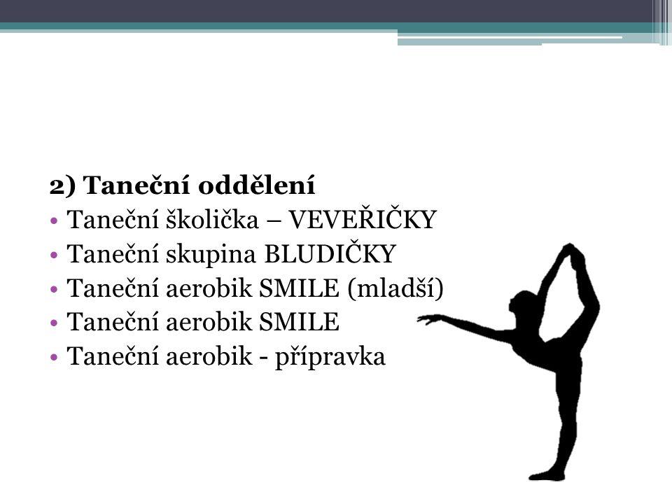 2) Taneční oddělení Taneční školička – VEVEŘIČKY Taneční skupina BLUDIČKY Taneční aerobik SMILE (mladší) Taneční aerobik SMILE Taneční aerobik - přípr