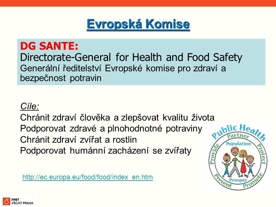 Evropská Komise Cíle: Chránit zdraví člověka a zlepšovat kvalitu života Podporovat zdravé a plnohodnotné potraviny Chránit zdraví zvířat a rostlin Pod