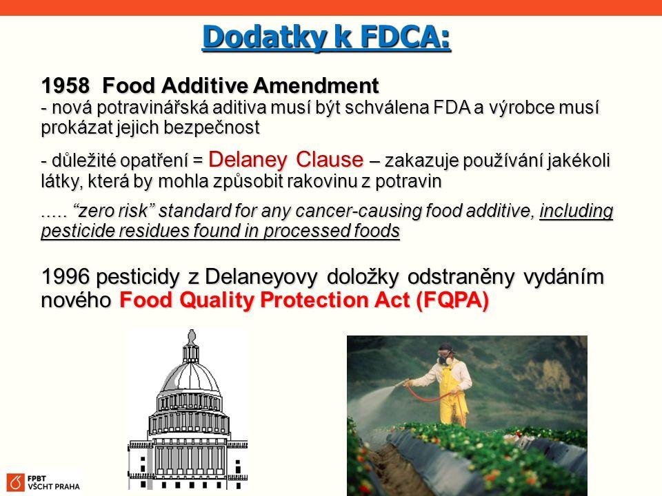 1958 Food Additive Amendment - nová potravinářská aditiva musí být schválena FDA a výrobce musí prokázat jejich bezpečnost - důležité opatření = Delan