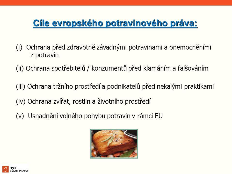 Cíle evropského potravinového práva: (i) Ochrana před zdravotně závadnými potravinami a onemocněními z potravin (ii) Ochrana spotřebitelů / konzumentů