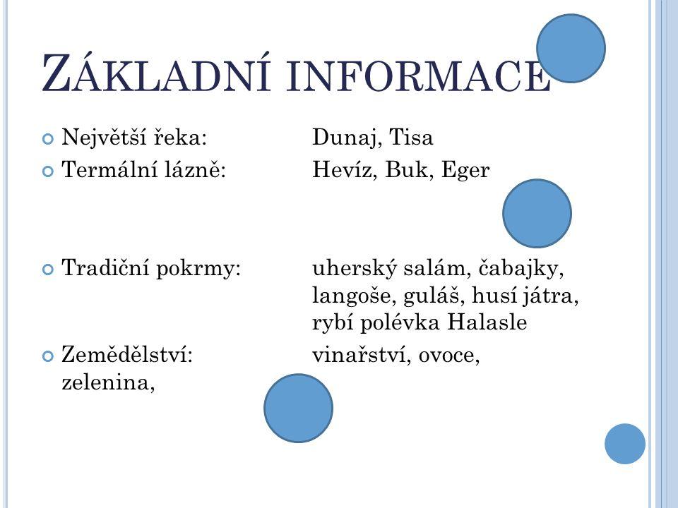 Z ÁKLADNÍ INFORMACE Největší řeka:Dunaj, Tisa Termální lázně:Hevíz, Buk, Eger Tradiční pokrmy:uherský salám, čabajky, langoše, guláš, husí játra, rybí