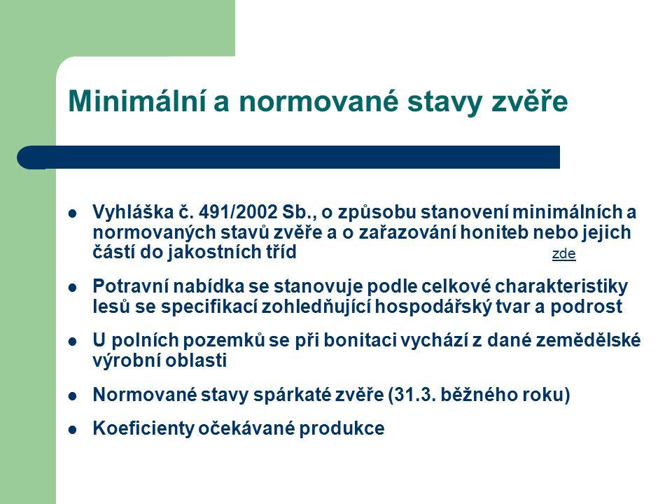 Vyhláška č. 491/2002 Sb., o způsobu stanovení minimálních a normovaných stavů zvěře a o zařazování honiteb nebo jejich částí do jakostních tříd zde zd