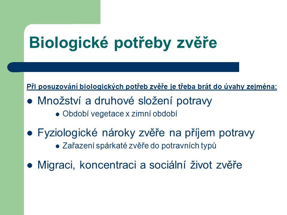Biologické potřeby zvěře Při posuzování biologických potřeb zvěře je třeba brát do úvahy zejména: Množství a druhové složení potravy Období vegetace x