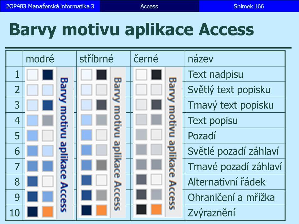 AccessSnímek 1662OP483 Manažerská informatika 3 Barvy motivu aplikace Access modréstříbrnéčernénázev 1Text nadpisu 2Světlý text popisku 3Tmavý text popisku 4Text popisu 5Pozadí 6Světlé pozadí záhlaví 7Tmavé pozadí záhlaví 8Alternativní řádek 9Ohraničení a mřížka 10Zvýraznění