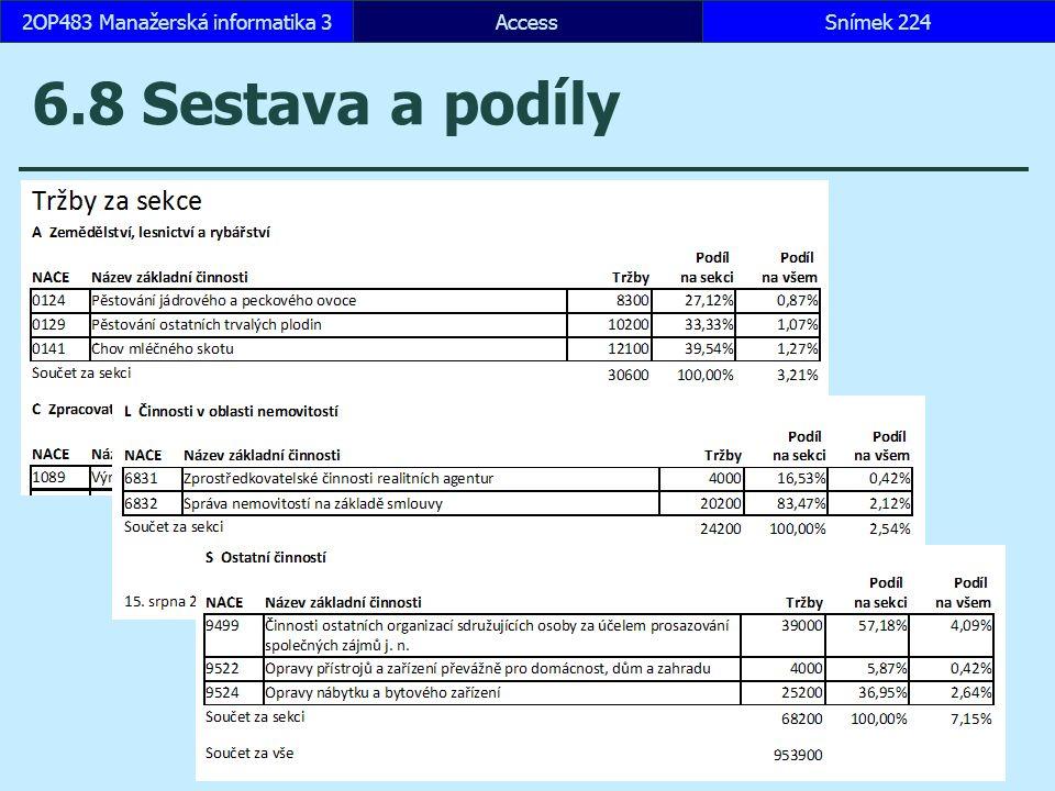AccessSnímek 2242OP483 Manažerská informatika 3 6.8 Sestava a podíly