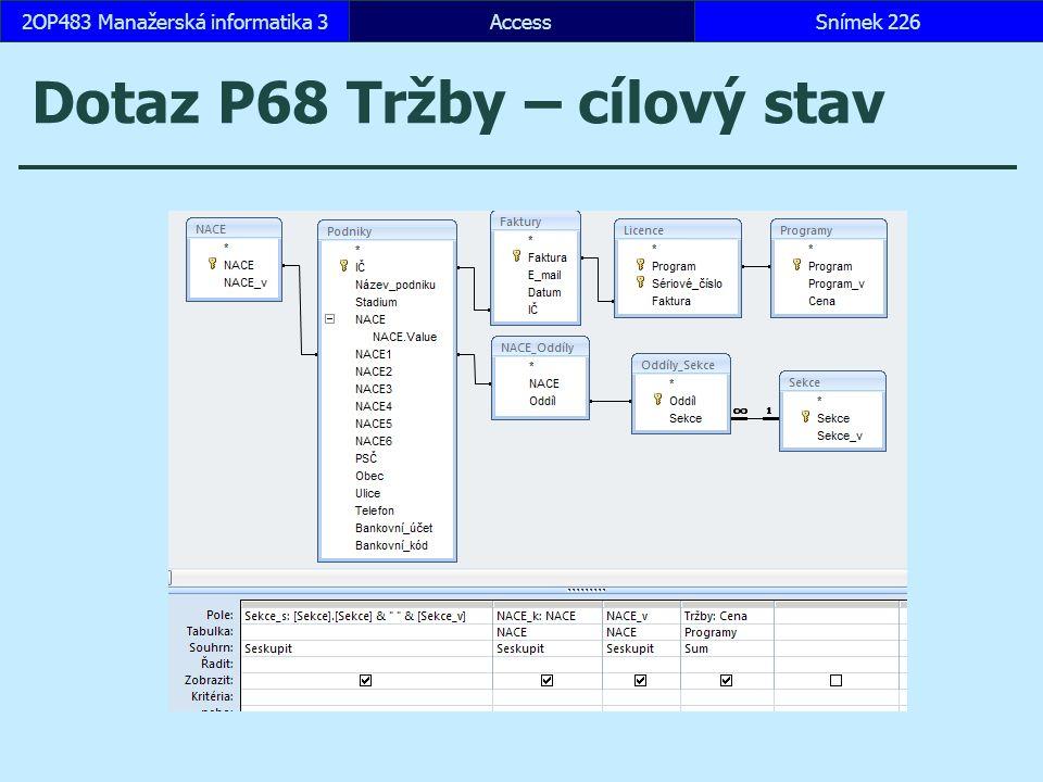 AccessSnímek 2262OP483 Manažerská informatika 3 Dotaz P68 Tržby – cílový stav