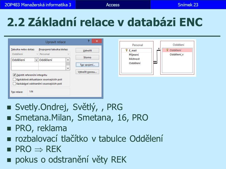 AccessSnímek 232OP483 Manažerská informatika 3 2.2 Základní relace v databázi ENC Svetly.Ondrej, Světlý,, PRG Smetana.Milan, Smetana, 16, PRO PRO, reklama rozbalovací tlačítko v tabulce Oddělení PRO  REK pokus o odstranění věty REK