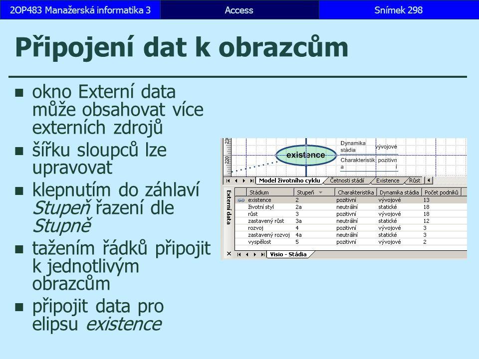 AccessSnímek 2982OP483 Manažerská informatika 3 Připojení dat k obrazcům okno Externí data může obsahovat více externích zdrojů šířku sloupců lze upravovat klepnutím do záhlaví Stupeň řazení dle Stupně tažením řádků připojit k jednotlivým obrazcům připojit data pro elipsu existence