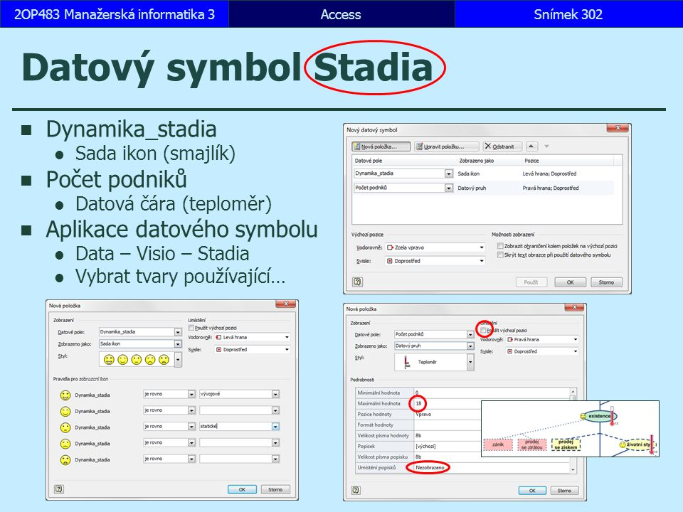 AccessSnímek 3022OP483 Manažerská informatika 3 Datový symbol Stadia Dynamika_stadia Sada ikon (smajlík) Počet podniků Datová čára (teploměr) Aplikace datového symbolu Data – Visio – Stadia Vybrat tvary používající…