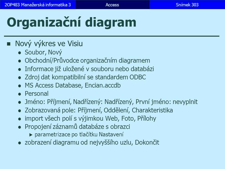 AccessSnímek 3032OP483 Manažerská informatika 3 Organizační diagram Nový výkres ve Visiu Soubor, Nový Obchodní/Průvodce organizačním diagramem Informace již uložené v souboru nebo databázi Zdroj dat kompatibilní se standardem ODBC MS Access Database, Encian.accdb Personal Jméno: Příjmení, Nadřízený: Nadřízený, První jméno: nevyplnit Zobrazovaná pole: Příjmení, Oddělení, Charakteristika import všech polí s výjimkou Web, Foto, Přílohy Propojení záznamů databáze s obrazci  parametrizace po tlačítku Nastavení zobrazení diagramu od nejvyššího uzlu, Dokončit