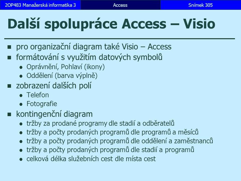AccessSnímek 3052OP483 Manažerská informatika 3 Další spolupráce Access – Visio pro organizační diagram také Visio – Access formátování s využitím datových symbolů Oprávnění, Pohlaví (ikony) Oddělení (barva výplně) zobrazení dalších polí Telefon Fotografie kontingenční diagram tržby za prodané programy dle stadií a odběratelů tržby a počty prodaných programů dle programů a měsíců tržby a počty prodaných programů dle oddělení a zaměstnanců tržby a počty prodaných programů dle stadií a programů celková délka služebních cest dle místa cest