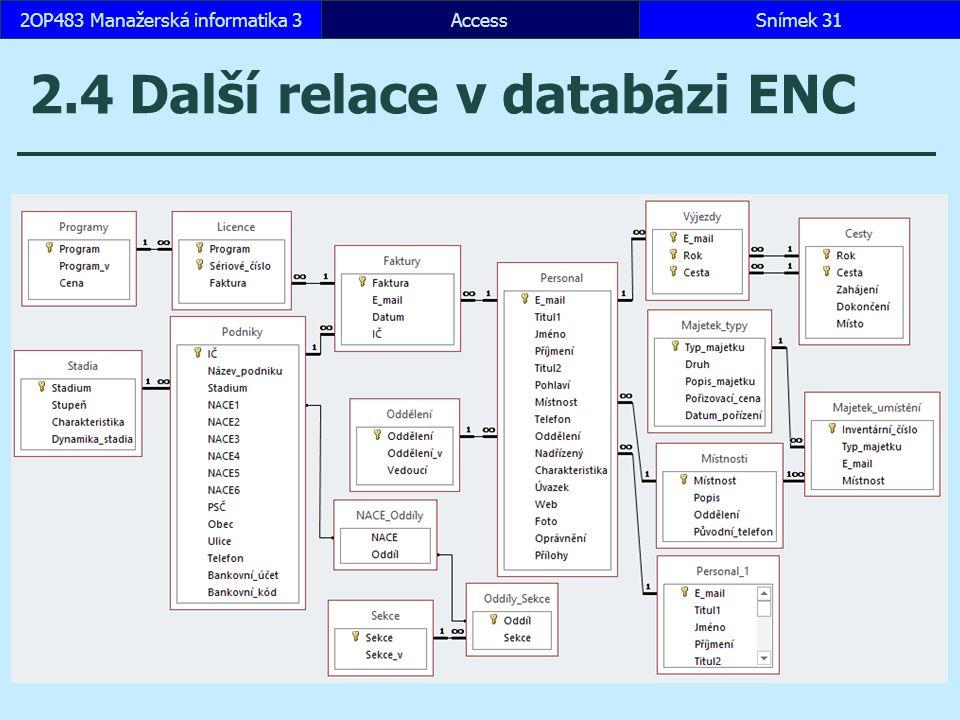 AccessSnímek 312OP483 Manažerská informatika 3 2.4 Další relace v databázi ENC