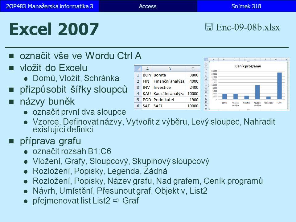 AccessSnímek 3182OP483 Manažerská informatika 3 Excel 2007 označit vše ve Wordu Ctrl A vložit do Excelu Domů, Vložit, Schránka přizpůsobit šířky sloupců názvy buněk označit první dva sloupce Vzorce, Definovat názvy, Vytvořit z výběru, Levý sloupec, Nahradit existující definici příprava grafu označit rozsah B1:C6 Vložení, Grafy, Sloupcový, Skupinový sloupcový Rozložení, Popisky, Legenda, Žádná Rozložení, Popisky, Název grafu, Nad grafem, Ceník programů Návrh, Umístění, Přesunout graf, Objekt v, List2 přejmenovat list List2  Graf  Enc-09-08b.xlsx