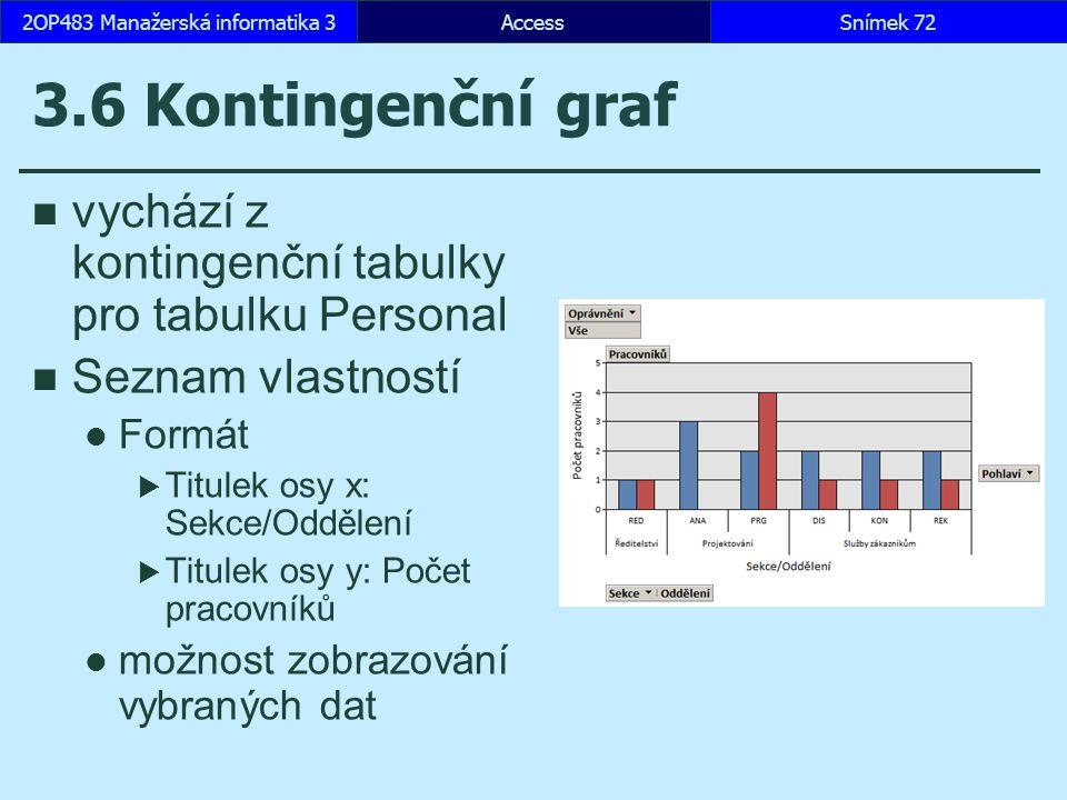 AccessSnímek 722OP483 Manažerská informatika 3 3.6 Kontingenční graf vychází z kontingenční tabulky pro tabulku Personal Seznam vlastností Formát  Titulek osy x: Sekce/Oddělení  Titulek osy y: Počet pracovníků možnost zobrazování vybraných dat