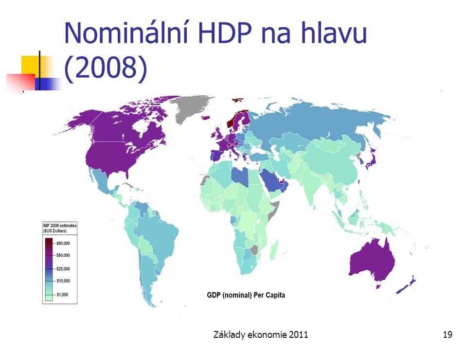 Základy ekonomie 201119 Nominální HDP na hlavu (2008)