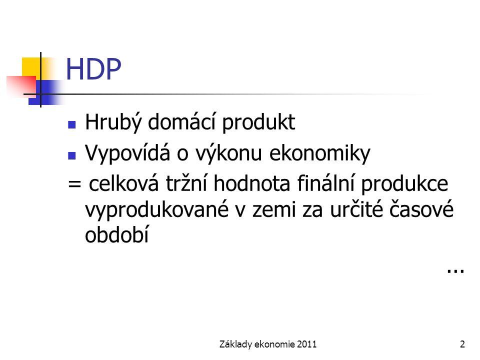 Základy ekonomie 20112 HDP Hrubý domácí produkt Vypovídá o výkonu ekonomiky = celková tržní hodnota finální produkce vyprodukované v zemi za určité časové období...