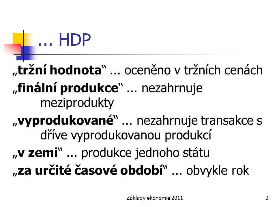 """Základy ekonomie 20113... HDP """"tržní hodnota""""... oceněno v tržních cenách """"finální produkce""""... nezahrnuje meziprodukty """"vyprodukované""""... nezahrnuje"""